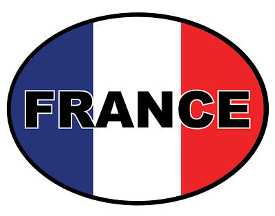 2 X French Oval France Flag, Car, Van Decal Self-Adhesive Vinyl Sticker • 1.99£