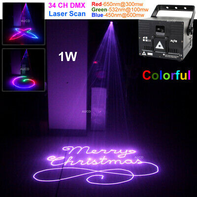 AU372.84 • Buy 1W RGB Full Color Animation Scan Laser Projector ILDA DMX DJ Club Stage Lights