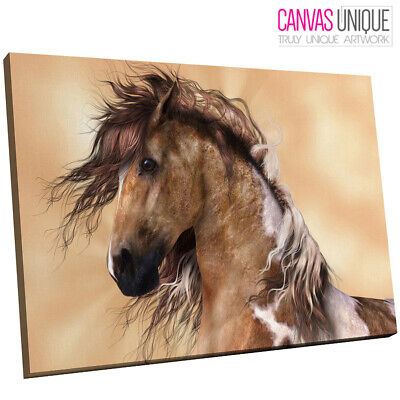 $27.78 • Buy A722 Brown White Horse Majestic Animal Canvas Wall Art Framed Picture Print