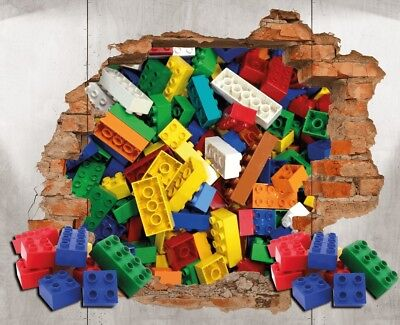 Lego Brick Wall Decal 3D Art Stickers Vinyl Room Home Bedroom • 11.99£