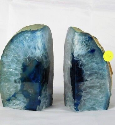 AB120) Blue Agate Quartz Crystal Bookends - House Office Gift / Home Decor 2.9K  • 49.95£