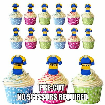 PRECUT Leeds Rhinos Rugby Shirts Edible Cupcake Toppers Boys Men Birthday • 3.49£