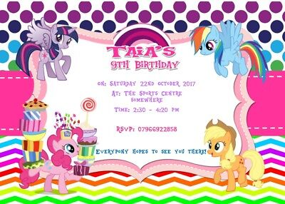Personalised My Little Pony Inspired Invitations (Various Designs) • 9.99£