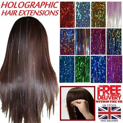 100 Strands Holographic Sparkle Woman Hair Glitter Tinsel Extensions Dazzles • 1.99£