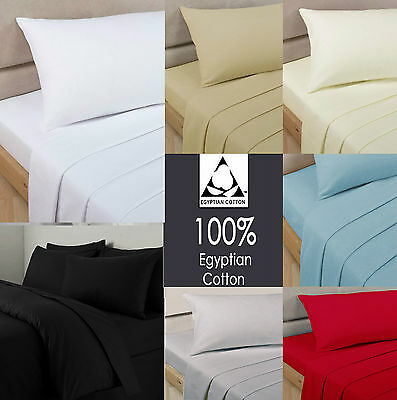100% Egyptian Cotton Fitted Sheet 200 Thread Count Single Double King Super King • 3.49£