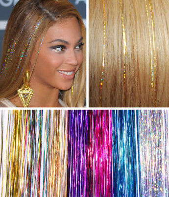 40  HAIR Tinsel Bling EXTENSIONS Sparkly Highlights Streak Halloween Xmas  • 2.99£