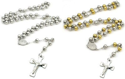 £7.99 • Buy Gold Silver Stainless Steel Jesus Christ Crucifix Cross Rosary Pendant Necklace