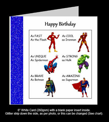 Superhero Birthday Card, Hulk, Batman, Ironman, Spiderman, Flash Superman (PR17) • 1.95£