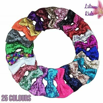 £1.79 • Buy Sequin Hair Bows 3  With Clip Sparkly Glittery Sequin Hair Bow Clips Slide