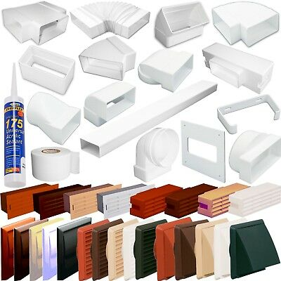 £2.99 • Buy Rectangular 110 X 54mm Plastic Flat Channel Ducting Fittings,Grilles,Cowls,tubes