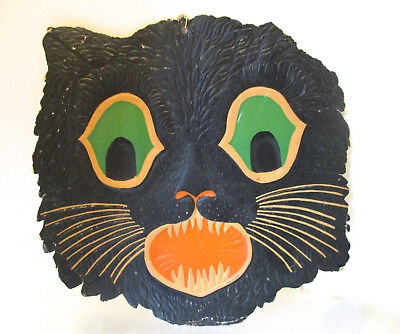$ CDN92.20 • Buy Vintage Halloween Beistle Black Cat Face Cardboard Die-cut Wall Hanging Decor