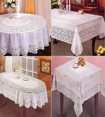 New Vinyl White Oval Rectangle Square Round Embossed Lace Tablecloth Table Cover • 5.95£