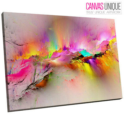 Yellow Pink Multicoloured Modern Abstract Canvas Wall Art Large Picture Print • 29.99£
