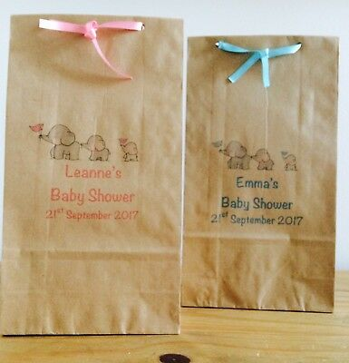 Personalised Paper Baby Shower Favour Bags/ Wedding/Christening/Party/Ribbon • 0.99£