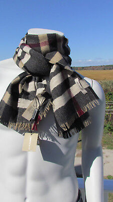 $389.95 • Buy NEW BURBERRY Scarf $450 Men ITALY Wool Reversible Classic Check Camel Black Bag