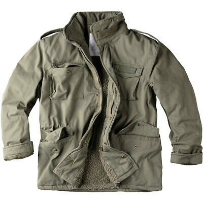 $142.95 • Buy Surplus Paratrooper Winter Mens Jacket M65 Army Military Field Coat Olive Washed