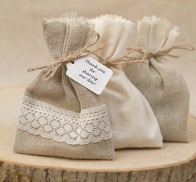 Shabby Chic 1-100 Vintage Hessian & Lace Mix Wedding Favour Bags Personalised • 31£
