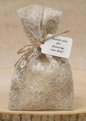Hessian & Ivory Lace Lined Wedding Favour Bags Personalised Shabby Chic Vintage • 8.50£
