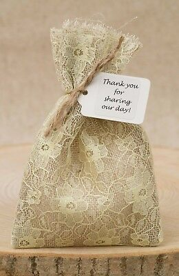 Hessian & Yellow Lace Wedding Favour Bags Lined Shabby Chic Vintage Personalised • 2.50£