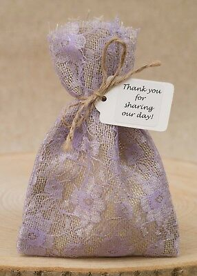 Hessian & Lilac Lace Wedding Favour Bags Lined Shabby Chic Vintage Personalised • 8.50£