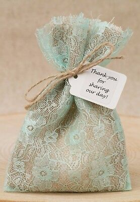Hessian & Mint Green Lace Wedding Favour Bags Lined Shabby Chic Personalised • 80£