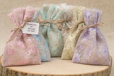Hessian Pastel Lace Wedding Favour Bags Lined Shabby Chic Pink Personalised UK • 8.50£