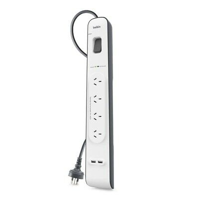 AU46 • Buy Belkin 4 Way Outlet Surge Protector Power Board With USB Charging IPhone Charger