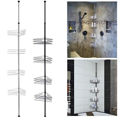 AU51.99 • Buy 4 Tier Metal Telescopic Shelf Wall Corner Bathroom Caddy Storage Bath Shower