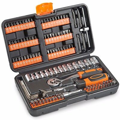 VonHaus 130pc Socket Set + Screwdriver Bits Including 72-teeth Ratchet Handle • 21.99£
