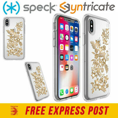 AU54.95 • Buy SPECK PRESIDIO CLEAR PRINT CASE FOR IPHONE XS/X - FLORAL METALLIC GOLD YELLOW