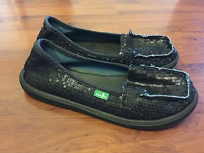 $18.99 • Buy Womens Size 5 Sanuk Black Sequin Slip On Flats Shoes Very Good
