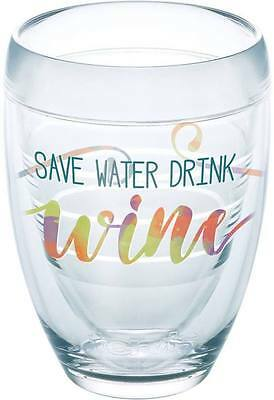$19.91 • Buy Tervis SAVE WATER DRINK WINE Stemless Elegant 9 Oz Glass Tumbler NEW Style Swirl