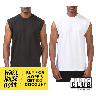$12.95 • Buy Proclub Pro Club Mens Plain Sleeveless Casual Tank Top Active Cotton Muscle Tee