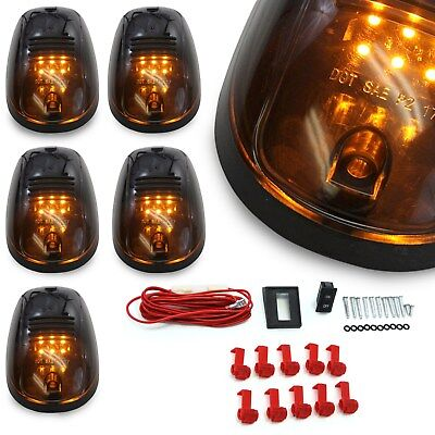$19.95 • Buy 5pc Cab Lights Smoked Amber Running Marker Parking Roof Top LED Truck 4x4 Pickup