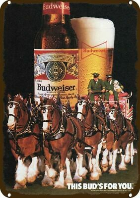 $ CDN30.37 • Buy 1985 BUDWEISER BEER Vintage Look REPLICA METAL SIGN CLYDESDALE HORSE & DALMATIAN