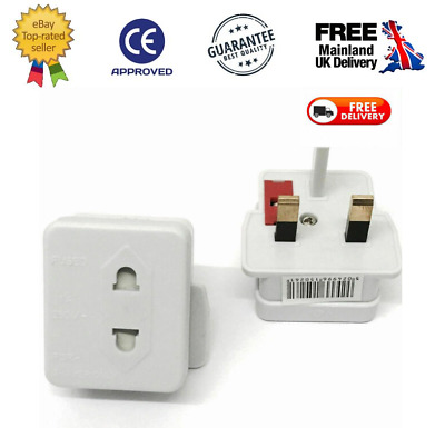 Shaver Adaptor UK Plug Convert 2 Pin In To 3 Pin UK Bathroom Toothbrush  1A Fuse • 3.99£