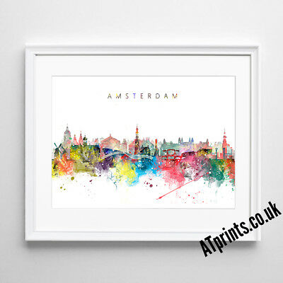 £8.99 • Buy AMSTERDAM SKYLINE MAP Print Poster Watercolour Framed Canvas Wall Art Gift City