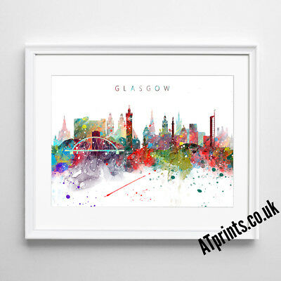 £19.99 • Buy GLASGOW SKYLINE MAP Print Poster Watercolour Framed Canvas Wall Art Gift CITY