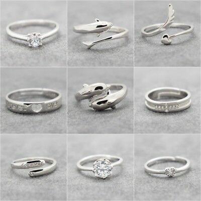 Womens Adjustable Rings 925 Sterling Silver Plated Wedding Engagement Thumb UK • 2.99£