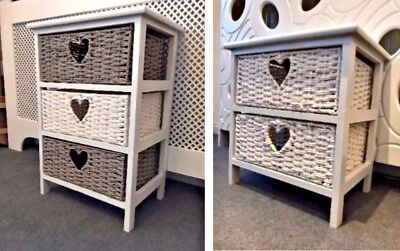 Grey White Storage Unit 2 3 Drawer Wicker Basket Bedside Table Chest Cabinet • 39.99£