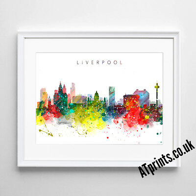 £8.99 • Buy LIVERPOOL SKYLINE MAP Print Poster Watercolour Framed Canvas Wall Art Gift CITY