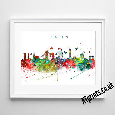 £19.99 • Buy LONDON SKYLINE MAP Print Poster Watercolour Framed Canvas Wall Art Gift CITY