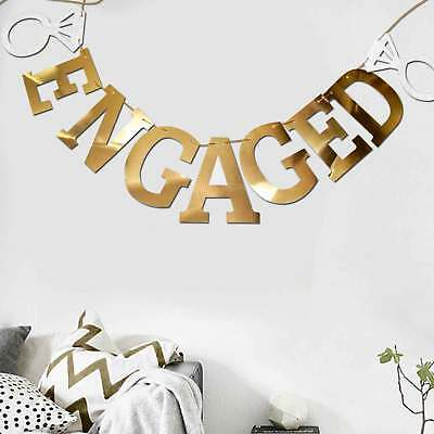 Gold Mirror Shiny Engaged Banner Engagement Wedding Party Decoration With Rings • 2.99£