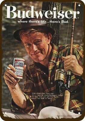 $ CDN30.37 • Buy 1961 BUDWEISER BEER MAN FISHING & SMOKING & DRINKING BUD Vintage Look METAL SIGN