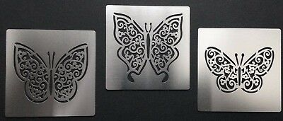Lattice Filigree Lace Butterfly Stainless Steel Stencil Template 5cm Wingspan • 9.50£