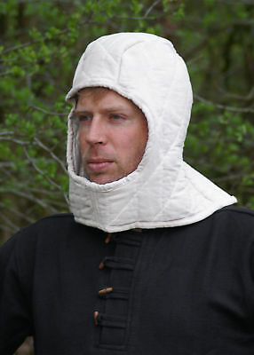 Padded Coif, Natural Colour, Medieval Historic Clothing LARP SCA Reenactment • 26.95£