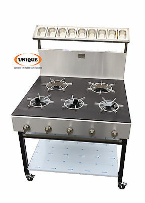 5 Burners Commercial Natural Gas Cooker Solid Pop Plate  • 900£