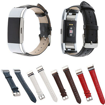 $ CDN15.63 • Buy DH Classy Cowhide Genuine Leather Strap Crocodile Style Band For Fitbit Charge 2