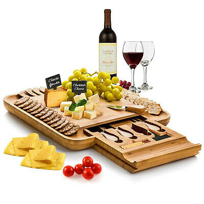 £28.31 • Buy Bambusi Bamboo Cheese Board & Cutlery Set W/ Slide Out Drawer 4 Stainless Knife