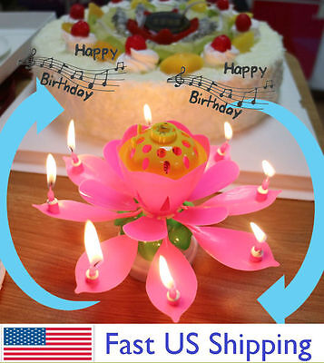 $ CDN10.69 • Buy ROTATING Lotus Candle Birthday Flower Musical Floral Cake Candles /w Music Magic